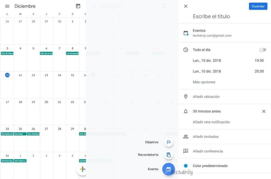 Como usar Google Calendar crear evento o recordatorio