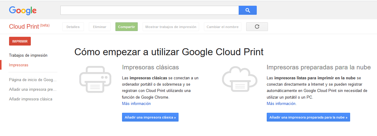 Impresión Android Google Cloud Print