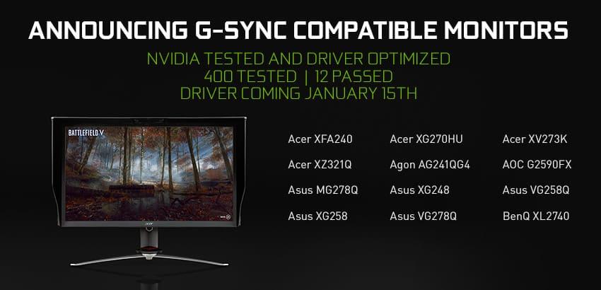 monitores compatibles con G Sync