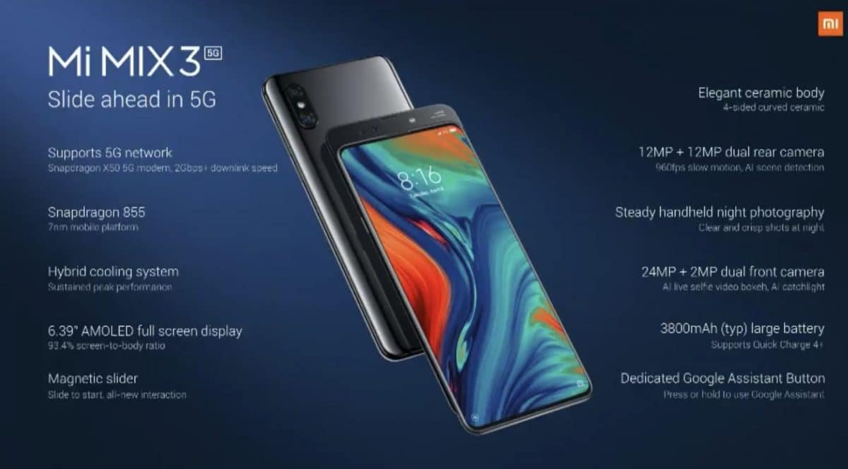 Xiaomi Mi Mix 3 5G características