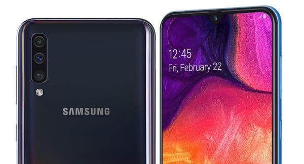 Samsung Galaxy A50 trasera y frontal