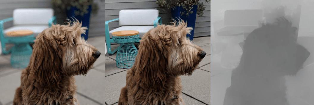 Imagen perro Android Q profundidad 3D