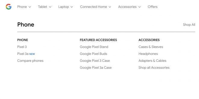 Pixel 3a link en la tienda de Google