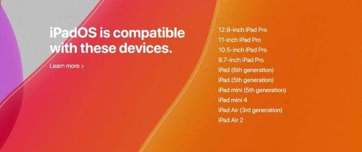 iPad OS estará presente en una lista de 12 dispositivos