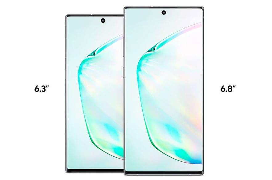 Galaxy Note 10 pantallas