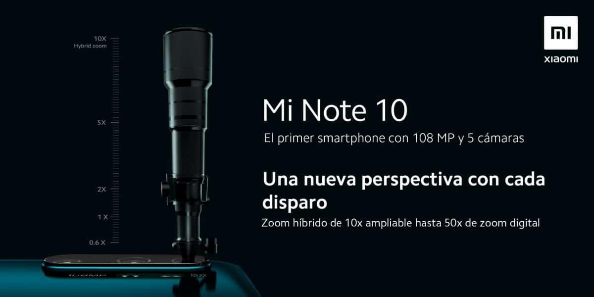 camara hibrida Mi Note 10