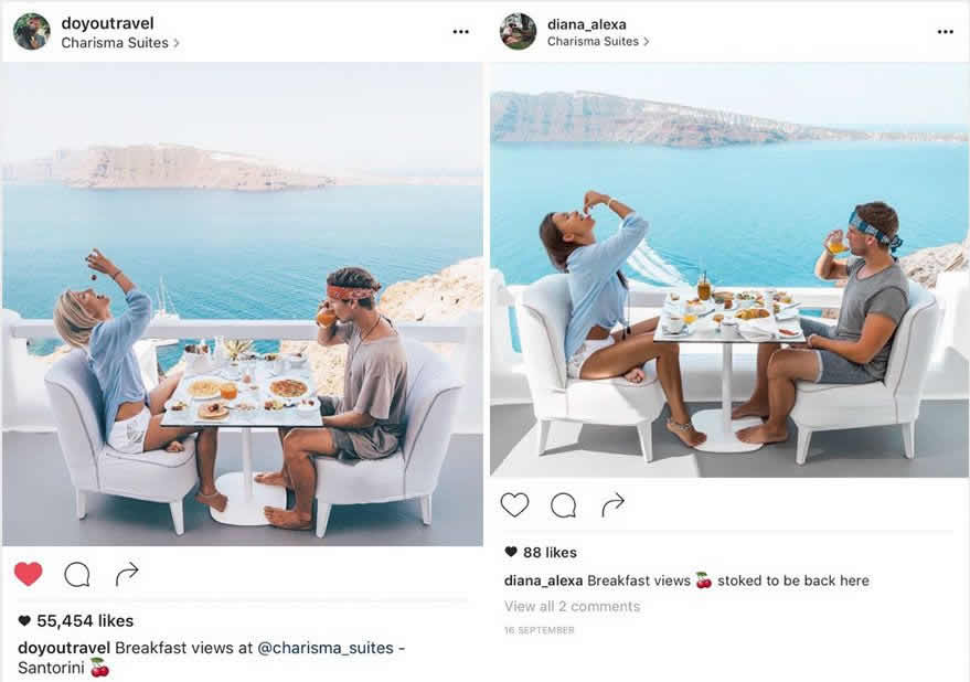 comparación likes publicación instagram