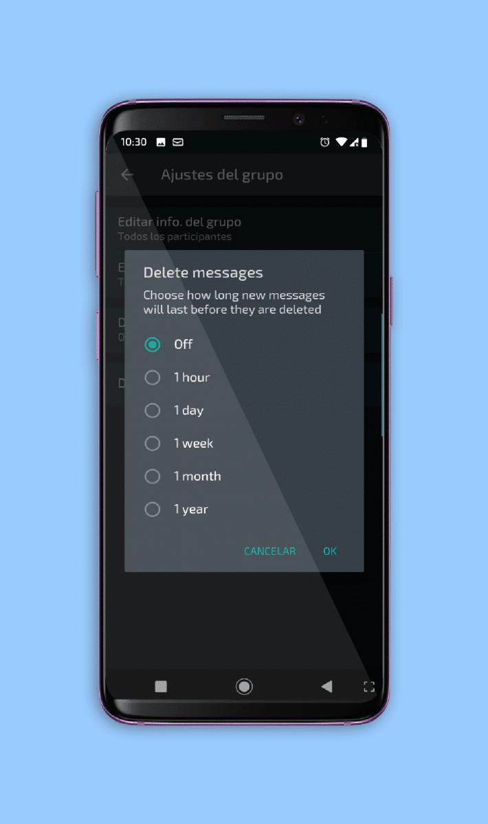 tiempo eliminación mensajes whatsapp grupos