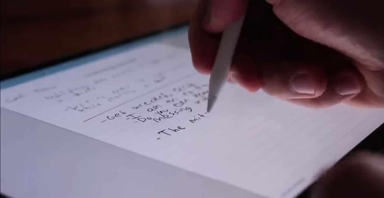 escritura a mano en iPad