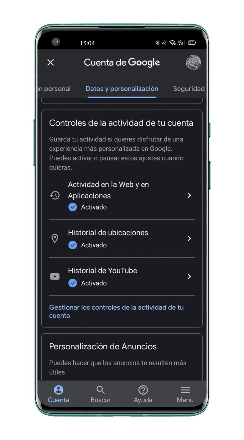deshabilitar-seguimiento de actividad-Google