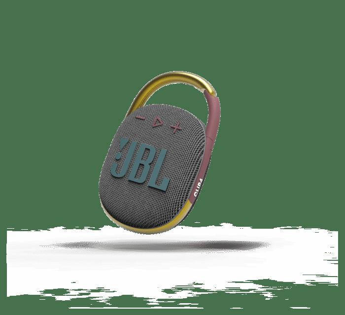 jbl-clip-4-gris-con-mosqueton-amarillo-y-morado
