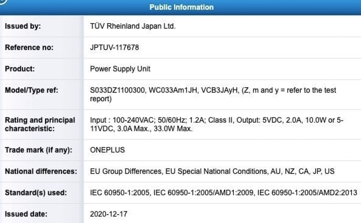 TUV-Rheinland-certificado-33W-OnePlus