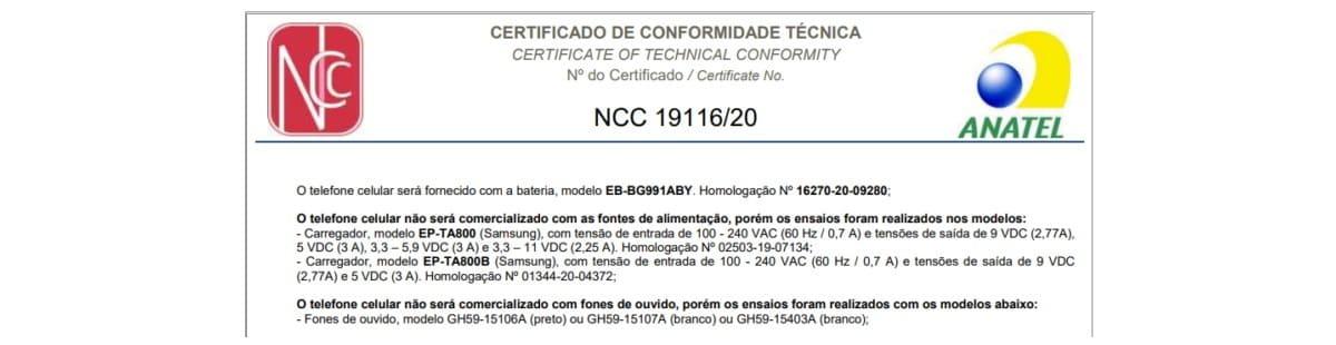 certificacion-Brasil-Galaxy-S21-sin-cargador-y-auriculares