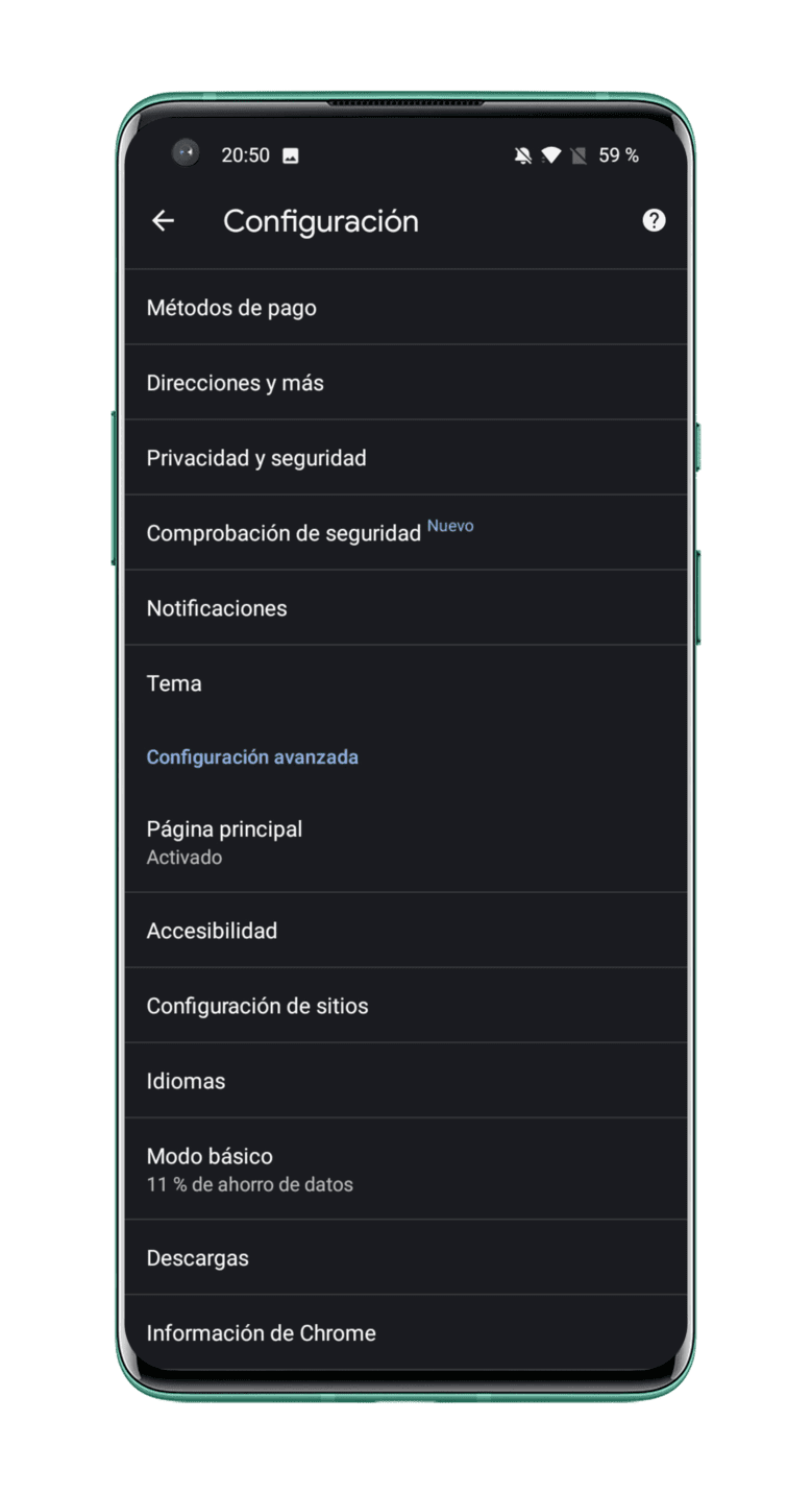 configuracion-Google-Chrome-Android