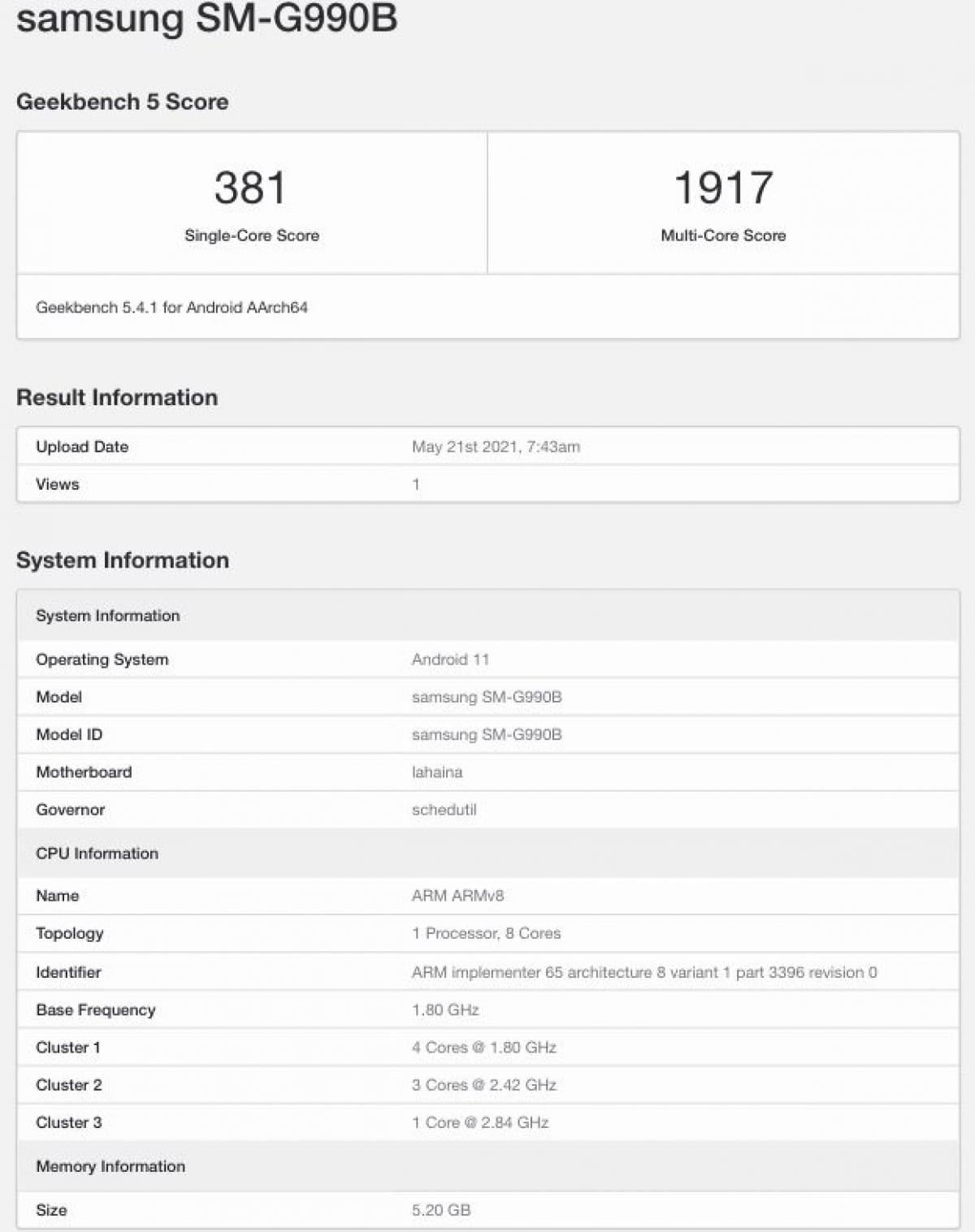 filtrado-Samsung-Galaxy-S21-FE-Geekbench-especificaciones-clave