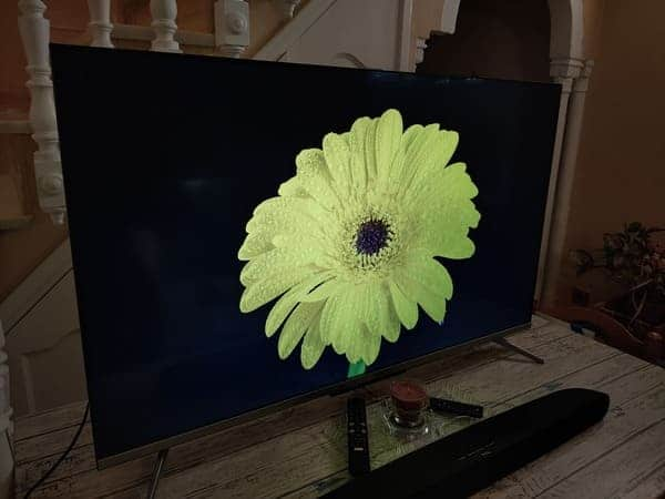 TCL-55C715-television-qled-barata-prueba-color-amarillo-flor-negro